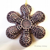Winter Flower, Pottery decoration flower ceramic snowflake PURPLE
