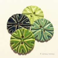 Pottery buttons Set of four large handmade ceramic buttons blue and green