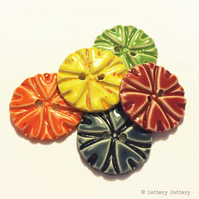 Pottery buttons Set of five large handmade ceramic buttons