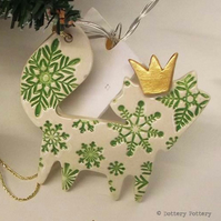 Ceramic Christmas Fox decoration GREEN Christmas decoration, pottery fox
