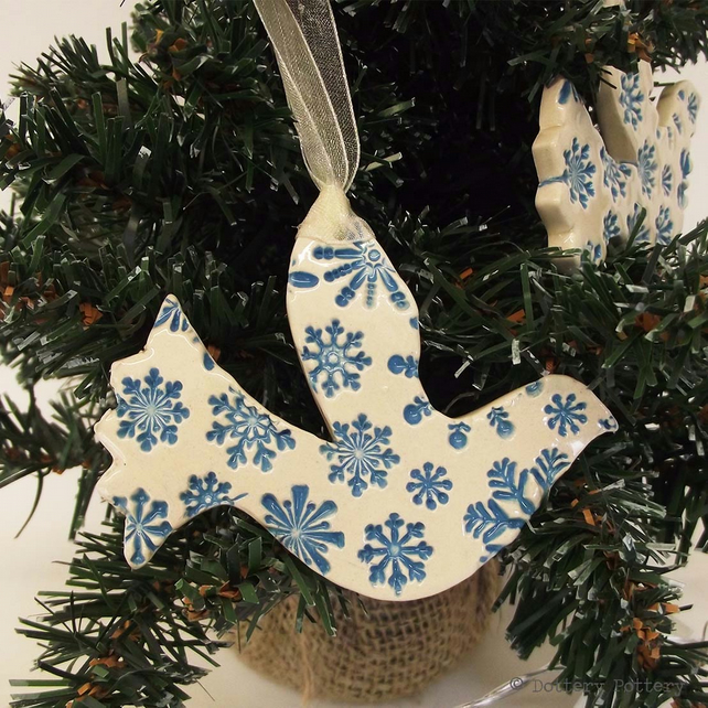 Snowy white dove ceramic Christmas decoration