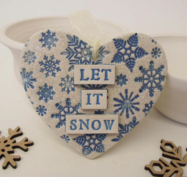 Let it Snow Christmas ceramic heart