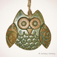 Ceramic owl hanging decoration Pottery owl ceramic bird Green