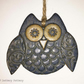 Ceramic owl hanging decoration Pottery owl ceramic bird Blue