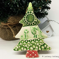 Ceramic Christmas Tree decoration Patchwork tree Pottery Christmas tree
