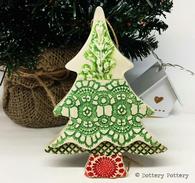 Ceramic Christmas Tree Decorations.Ceramic Christmas Tree Decoration Patchwork Tree Pottery Christmas Tree
