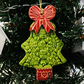 Ceramic Christmas Tree decoration Pottery decoration tree with a bow