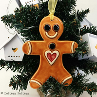 Large Ceramic gingerbread man Christmas decoration