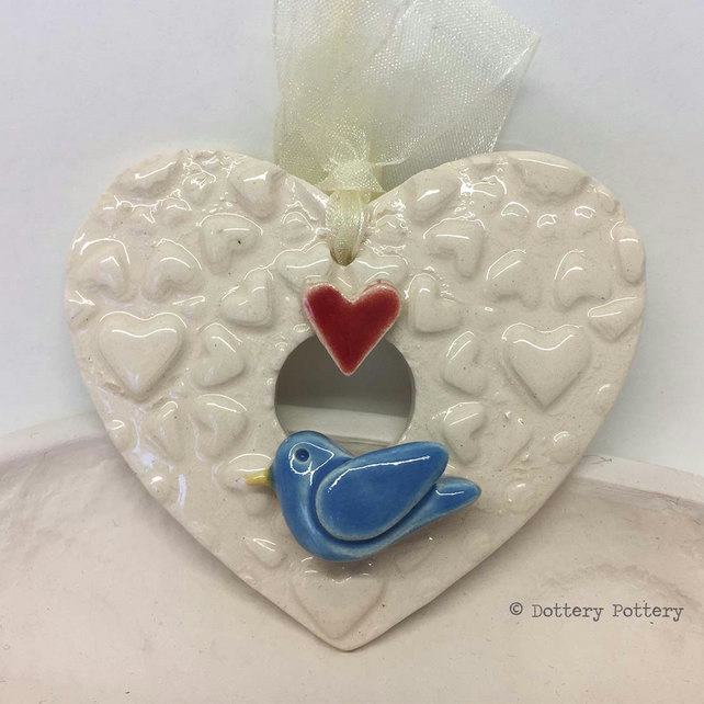 Pottery decoration Love Heart Ceramic heart pattern with ceramic bird Valentines