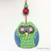 Small ceramic owl hanging decoration