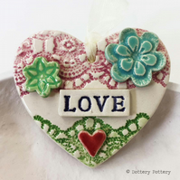 Pottery decoration Love Heart Ceramic lace pattern flower button  Valentines