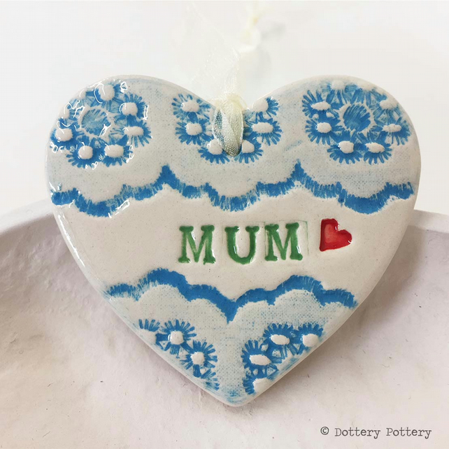 Pottery decoration Mum Heart Ceramic lace pattern Mother's Day