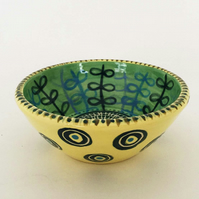 Handthrown small ceramic dish bold leaf design pottery bowl studio pottery