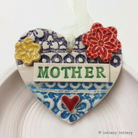 Pottery decoration Mother Heart Ceramic lace pattern Mother's Day