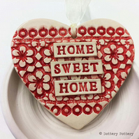 Ceramic heart hanging decoration Pottery Heart  Home Sweet Home Flower pattern