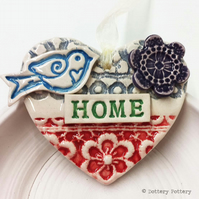 Pottery decoration Love Heart Ceramic lace pattern Home heart New home