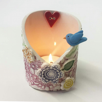 Pottery bird woodland scene candle holder ceramic dish trinket pot