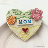 Pottery decoration Mom Heart Ceramic lace pattern Mother's Day