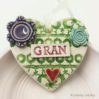 Pottery decoration Gran Heart Ceramic lace pattern Mother's Day
