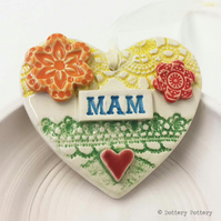 Pottery decoration Mam Heart Ceramic lace pattern Mother's Day