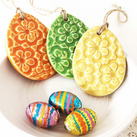 Set of 3 Pottery Easter Egg decoration Ceramic Easter Egg patterned egg