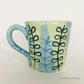 Pottery Mug bright leaf pattern hand thrown ceramic mug