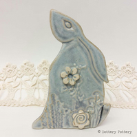 Ceramic Moon Gazing Hare Pottery Hare decoration natural clay rabbit