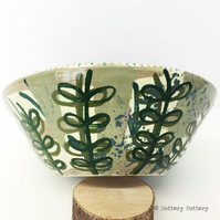 Handthrown ceramic bowl bold leaf design pottery bowl studio pottery