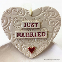 Ceramic Wedding heart decoration Just Married Pottery