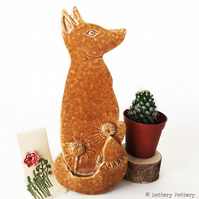 Pottery Fox hanging decoration Ceramic Fox