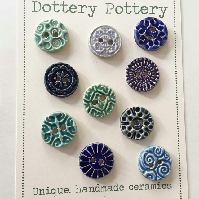 Set of ten little handmade ceramic buttons pottery buttons