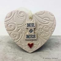 Wedding heart decoration Mr and Mrs Bride and Groom Pottery