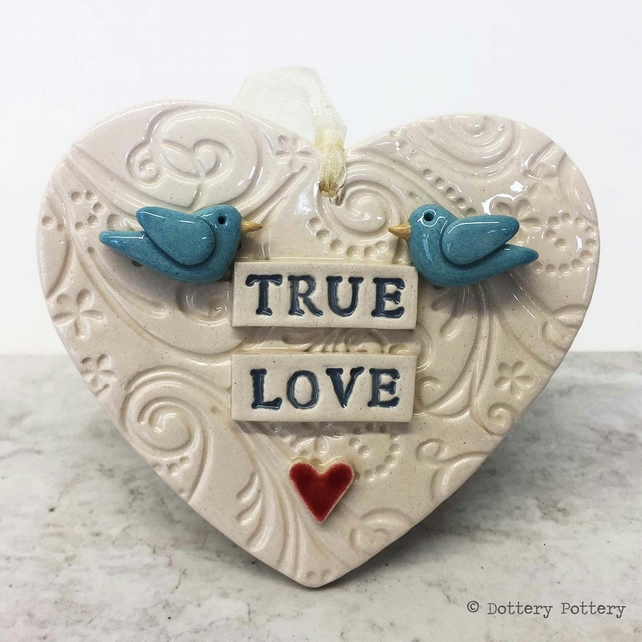 Ceramic heart decoration with birds Love heart Wedding
