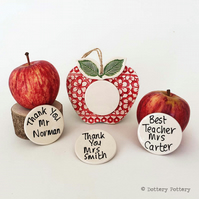 Personalised Ceramic Apple decoration Thank You teacher gift Pottery Apple