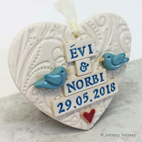 Personalised Ceramic Wedding hearts with lovebirds made to order pottery bird