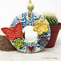 Small ceramic floral wreath decoration butterfly and flowers pottery butterfly