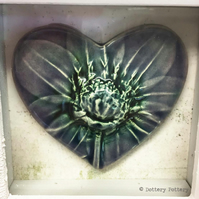 Ceramic heart presented in a box frame Wall hanging Pottery Heart