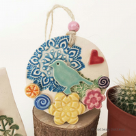Ceramic decoration with bird and flowers pottery bird ceramic flowers