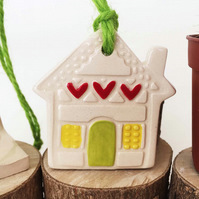 Small Ceramic house hanging decoration Pottery House New Home, Garden
