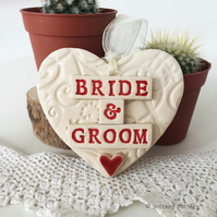 Wedding gift Pottery heart decoration gift tag Just Married bride and groom