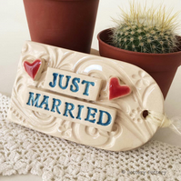 Large ceramic Wedding tag decoration Wedding gift Bride and Groom, Mr and Mrs