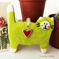 Pottery Cat hanging decoration ceramic cat