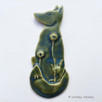 Pottery Fox hanging decoration Ceramic Fox Moon gazing fox