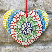 Ceramic heart hanging decoration Pottery Heart Tie Dye Festival Bright Colours