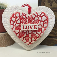 Ceramic heart decoration Love loveheart pottery heart