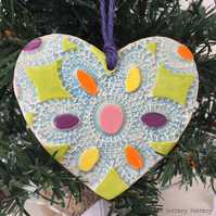 Christmas decoration pottery heart bright patterned heart Xmas decoration
