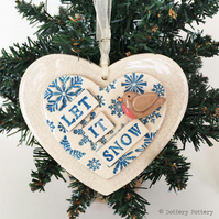Christmas decoration pottery robin on a snowy heart let it snow ceramic heart