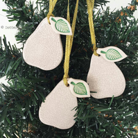 Set of three ceramic pear Christmas decorations Pottery pear