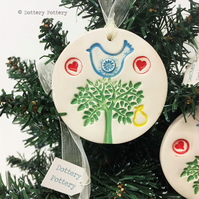 Partridge in a pear tree ceramic Christmas decoration Pottery decoration Xmas