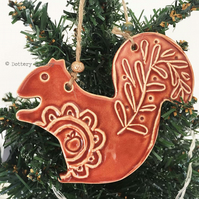 Ceramic squirrel Christmas decoration Pottery squirrel woodland creature